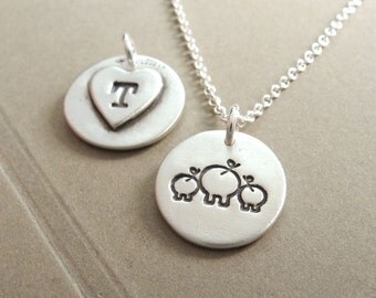 Personalized Small Mother and Twin Pig Necklace, New Mom, Mom and Two Kids, Pig Monogram, Fine Silver, Sterling Silver Chain, Made To Order