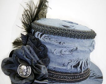 Gothic Hat, Mini Top Hat, Punk Hat, Steampunk Hat, Wedding Hat, Victorian Wedding, Burning Man Hat, Festival Hat, Top Hat, Costume Hats
