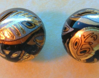 NEW Pretty Pair Gold Leaf on Black Focal Point Japanese Tensha Beads 14 MM