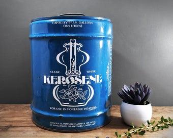 Vintage Beautiful Blue Kerosene 5 Gallon Can with Lamp Graphics; Industrial Boho Farmhouse Decor