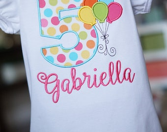 Embroidered Personalized Birthday Balloons Toddler Tee Shirt - ANY AGE - First, Second, Third, Fourth, Fifth Birthday - Party - Pictures