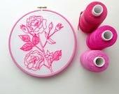 Vintage rose. Tissu imprimé de pré. Motif de broderie. Art du cerceau. Fleurs rose fluo. Échantillonneur de point de broderie. Conception de botanique. Décor à la maison.