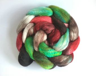 In the Apple Trees Organically farmed Merino/Mulberry Silk combed tops for spinning