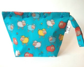 Cute Multicoloured Sheep knitting/spinning/crochet/crafting project bag