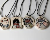 Cat Necklace Handmade Ceramic Pendant on 16 inch Waxed Cotton Cord Cat Illustration Cute animal themed Jewelry Gifts under 20