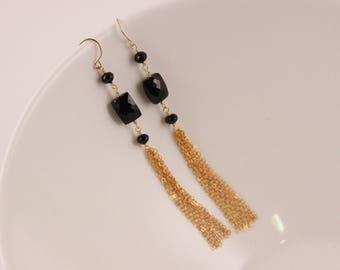 AAA Black Spinel Tassel Earrings, Gold Filled, Black Gemstone, Wire Wrapped, Black and Gold Chain Earrings, Long Dangle Earrings