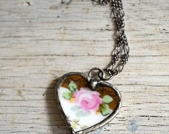 Heart Necklace, Broken Plate, Broken China, Heart Necklace with Rose, Pink Heart, Broken Dish, Antique China, Pink Heart Necklace (2203)