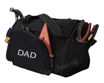 Tool Bag in Black with Monogram or Name Embroidered Father's Day Dad Tool Organization Organizer Multiple Pockets for Wrenches Screwdrivers