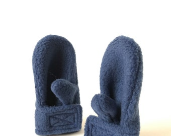 Fleece Toddler Mittens - Navy - Baby Mittens That Stay On - Toddler Winter Clothes