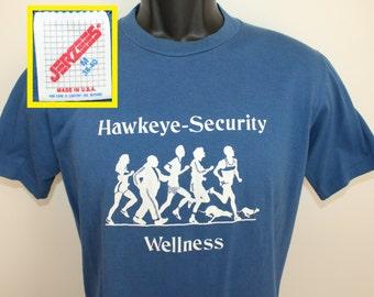 Hawkeye Security Wellness vintage t-shirt Small/Medium blue Jerzees 80s 90s soft thin