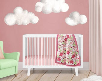 Clouds Wall Decals - Hand Painted Watercolor Clouds - Peel and Stick Wall Stickers - Set of 3 - Nusery Decor - Baby Shower Decoration -WB413