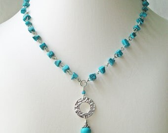 Turquoise chip necklace and earrings, jewelry set, pendant necklace drop earrings,