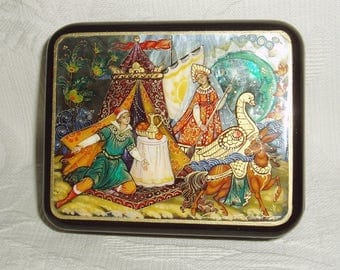 "Russian Lacquer box Mother of pearl Palekh ""Tsar Maiden"" Magic Pony Hand Painted"