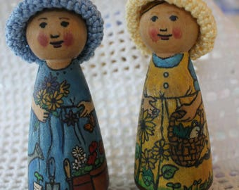 Gardener Girl Peg Doll - Choose One -  watercolored large size 3.5""