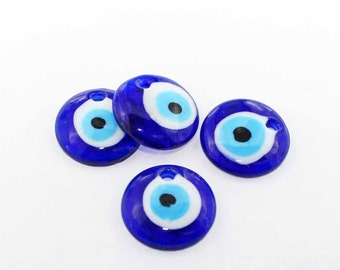 Evil Eye Lampwork Glass Pendant Royal Blue 26mm - BD1321