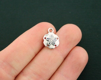 6 Sand Dollar Charms Antique Silver Tone - SC6694