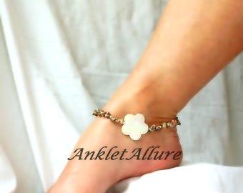 Flower Anklet Rocky Beach Ankle Bracelet Flower Body Jewelry Shell Jewelry