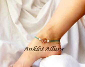 Flower Anklet Beach Ankle Bracelet Pearl Body Jewelry Ocean Cruise Foot Jewelry Resort Jewelry