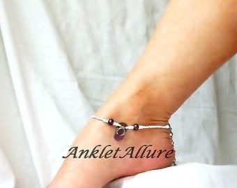 Beach Anklet Purple Flip Flop Anklet Beach Body Jewelry Amythest Ankle Bracelet Body Jewelry