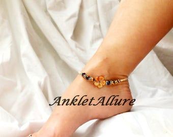 Brown Anklet Beach Anklets Shell Anklet Flower Ankle Bracelet