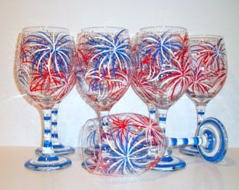Red White & Blue Fireworks Set of 8 - 21 oz  Hand Painted White Wine Glasses July 4th  Bridesmaids Bachelorette  Patriotic Summer Wedding