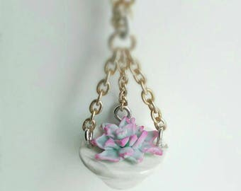 Sculpted succulent polymer clay dangling pendant necklace - chain included