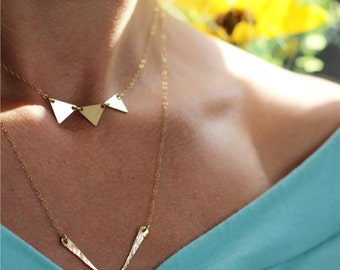 Banner Necklace - Gold triangle necklace, gold choker, 3 triangles necklace, 14k gold filled, 3 gold triangles necklace, layering necklace