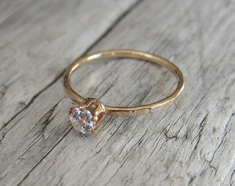 Gold ring band. Cubic zirconia ring in gold filled or sterling silver.