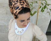 chic Leopard printhead scarf,leatherette headscarf, Jewish head covering, mitpachat scarf