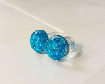 Blue Glitter Plugs for Gauged Ears, sizes 00g, 0g, 2g, 4g, 6g, regular earrings, 10mm, 8mm, 6mm, 5mm, 4mm, One (1) Pair