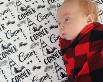 CUSTOM NAME Swaddle - Teepee - Birth announcement - personalized swaddle