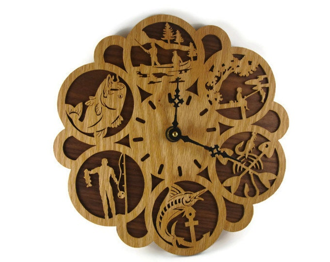 Fishing Themed Wall Hanging Clock Handmade From Oak And Walnut Wood By KevsKrafts