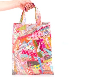 Christmas gifts - Upcycle OOAK tote handbag ,crazy patchwork ,colorful cotton scraps from the studio   shoulder bag for children - Handmade