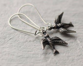 Silver Bird Earrings ... Swallow Vintage Silver Plated