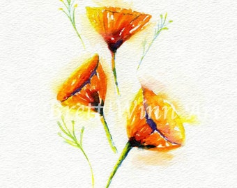 California Poppies Print, Printable Art, Poppies Art, Home Decor, Poppy, Watercolor, Wall decor, Instant Download