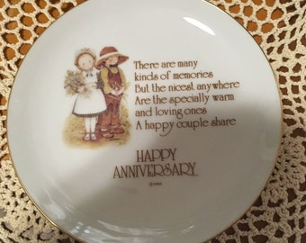 1976 Vintage Holly Hobbie Happy Anniversary Small Plate by Lasting Memories Porcelain