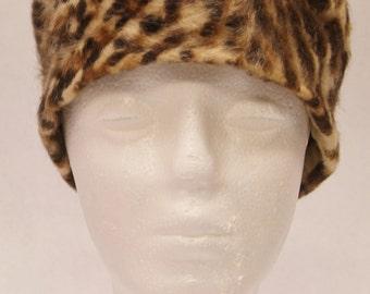 60s Faux Fur Leopard Print Pillbox Hat, VINTAGE