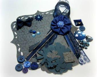 Navy Blue Inspiration Kit, Embellishment Kit, Aqua Blue Assorment of embellishments for Scrapbook Layouts Cards Mini Albums Papercrafts