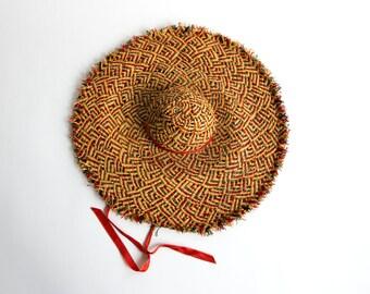 Vintage 50's Floppy Multicolored Woven Sun Hat / Beach Hat / Preppy Retro Naturalist Women's