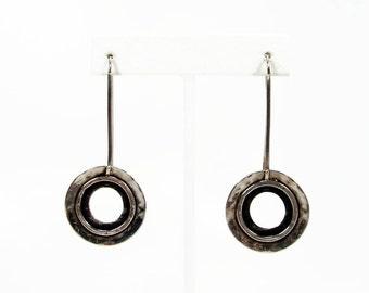 Silpada Sterling Silver Dangle Earrings, Hammered Sterling, Threader Earrings, 925 Silver, Circle Earrings