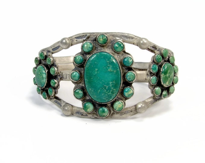 Vintage Native American Green Turquoise Coin Silver Cuff Bracelet