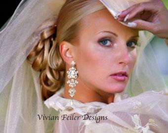 Bridal Earrings Long CHANDELIER Earrings SILVER or GOLD Statement Bling Rhinestone Prom Earrings Pageant Earrings