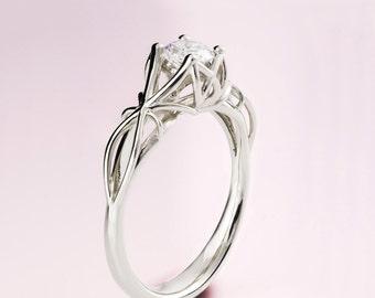Moissanite Engagement Ring, Filigree Engagement Ring, Forever One Moissanite, , Art Deco Engagement Ring, Solid 14K White Gold Ring, eng19