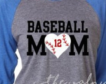 Varisty Baseball Mom Tee, ORIGINAL DESIGN, Choose from a Regular tee or Raglan, Glitter Included, Baseball Mom Shirt