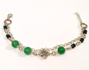 delicate bracelet green aventurine raw sapphire bracelet gemstone bracelet blue bracelet sterling silver clasp bracelet | Delilah bracelet