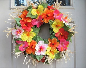 Summer Door Wreath, Hawaiian Party Decor, Luau Decorations, Tropical Decoration, Hibiscus Wreath, Island Floral Wreath, Tiki Beach Decor
