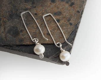 White Pearl Drop Earrings Pearl Earrings Sterling Silver, Dangle Earrings Handmade Earrings Bridesmaid Gift Long Earrings Pearl Drops Gift