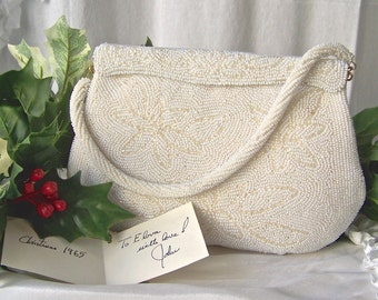 Vintage Walborg White Beaded Purse Satin Lining Cocktail Purse Bridal Shower Vintage 1960s