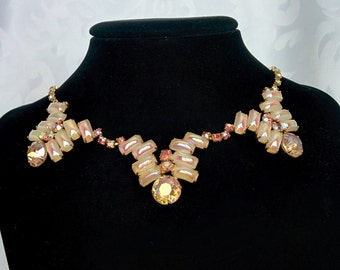 Vintage AB Crystals and Pearl Milk Glass Jewelry Set
