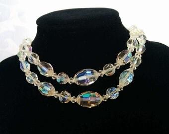 Aurora Borealis Double Strand Choker Western Germany, Double Strand Crystal Choker, Western Germany Jewelry